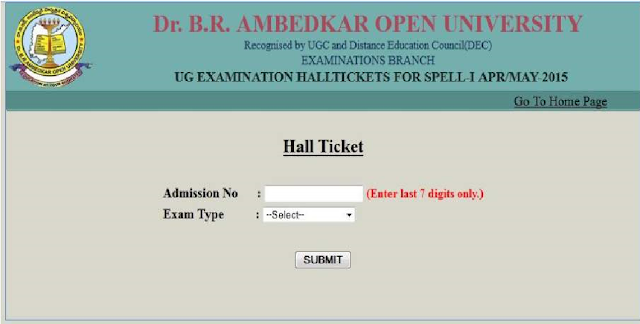DR BR Ambedkar Open University Hall Ticket 2016 Download BA B.com B.sc|DR br ambedkar open university hall ticket 2016 download| Degree Examination hall ticket 2016 | DR BR Open University Degree Examination Hall ticket (Admit card) 2016./2016/06/dr-br-ambedkar-open-university-hall-tickets-2016-download-BA-Bcom-Bsc-admit-card.html