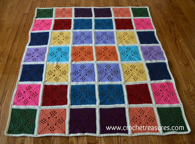 free crochet pattern, Victorian Lattice Square