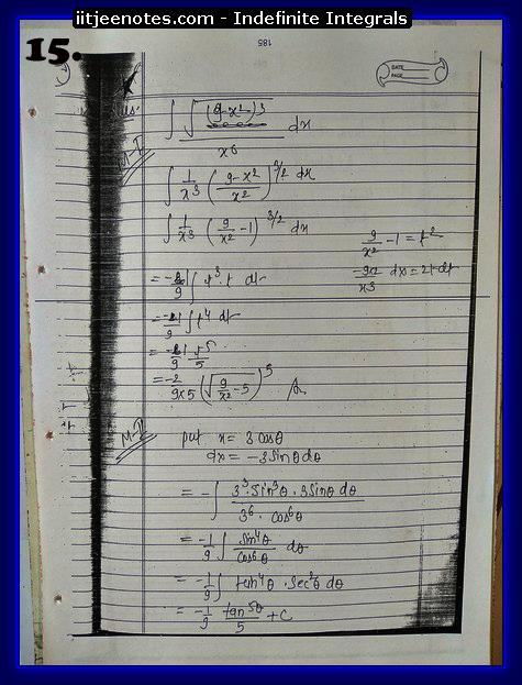indefinite integrals notes 1