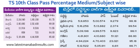 TS 10th Class 2016 Pass Percentage Medium/Subject wise
