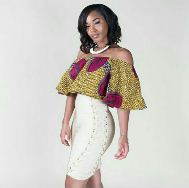 off shoulder ankara top