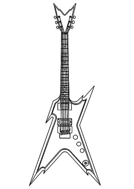 Gambar Mewarnai Gitar - 8