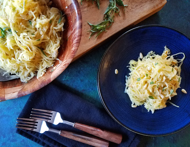 This flavor combination will blow you away! Buttery and fruity parmesan cheese (ideally Grana Padano) is the perfect companion for tarragon and pine nuts, and it's all mixed together in a healthy, gluten-free, low-carb and keto diet friendly spaghetti squash dish!
