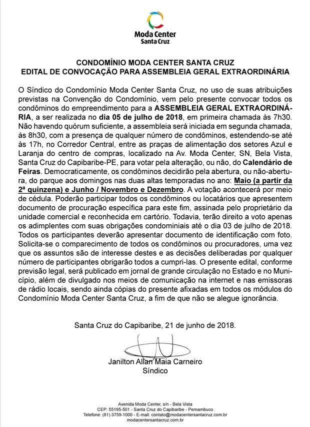 Edital de Convocação - Assembleia Geral Extraordinária