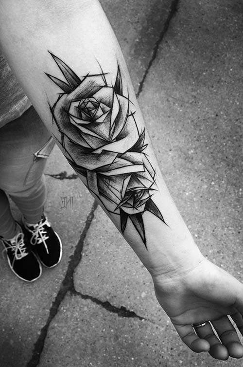 rose tattoo on wrist karakalem gül dövmesi