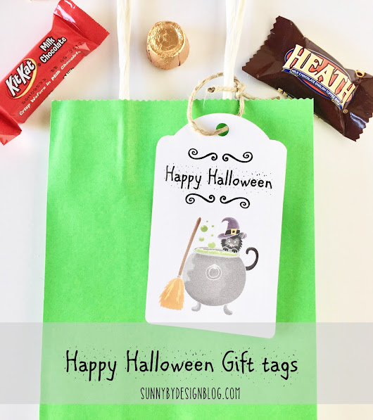Black Cat Happy Halloween Gift tags