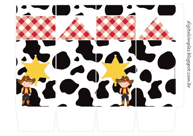 Cowboy o Vaquerito:Cajas para Imprimir Gratis.