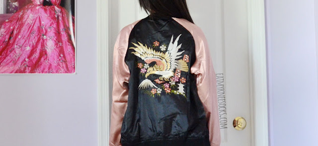 62b38786e32 A cute pastel outfit featuring the dusty pink and black floral embroidered  oversized satin bomber jacket