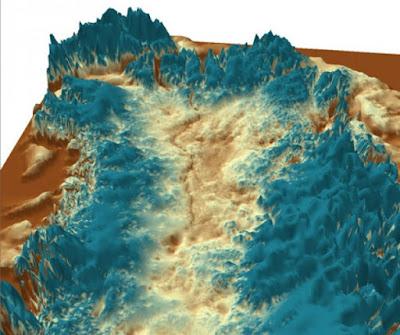 Imagen ilustrativa del gran cañón oculto en Groelandia