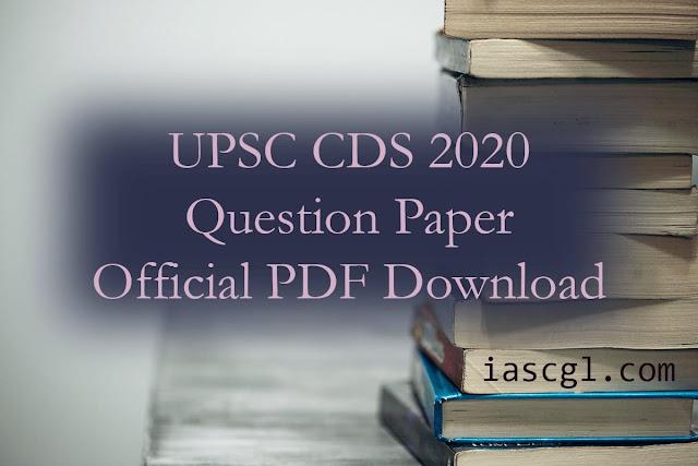 UPSC CDS 2020 Question Paper pdf