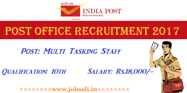 Post office Jobs, Post office MTS Recruitment 2017, Postal Jobs in Telangana