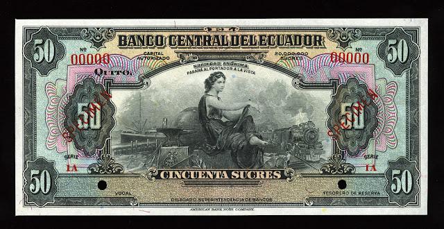 World currency money Ecuador 50 Sucres banknote bill