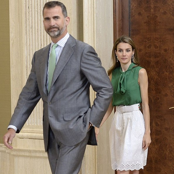 Princess Letizia and Prince Felipe of Spain attended audiences at Zarzuela Palace in Madrid, Spain.