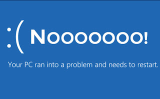 "BSOD Image with text: "":( Noooooo! Your PC ran into a problem and needs to restart."""