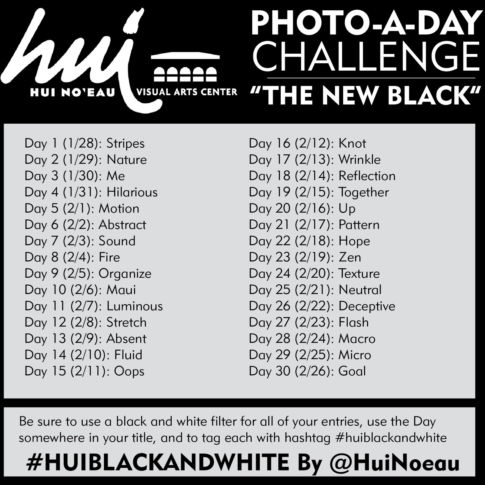 30 days of black white