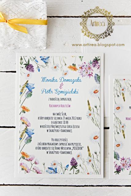 kolorowe wiosenne zaproszenia ślubne z koronką Artirea