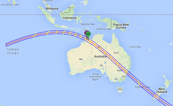 Path of total solar eclipse of 2028 in Australia