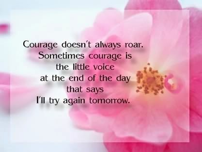 Courage doesn't always roar. Sometimes courage is the little voice at the end of the day that says I'll try again tomorrow.  - Mary Anne Radmacher Quotes