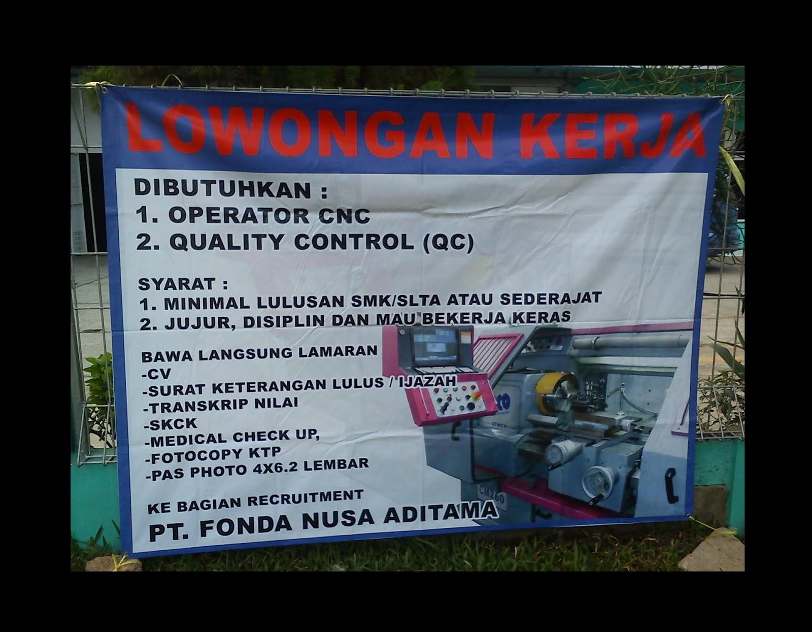 Info Loker PT Fonda Nusa Aditama April 2017