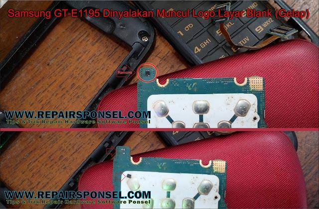 Samsung GT-E1195 Dinyalakan Muncul Logo Layar Gelap