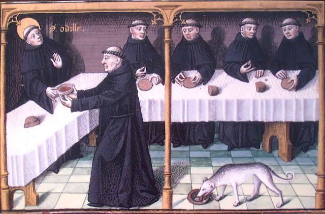 Os monges no refeitório na ceia presidida por Santo Odilon. M,s 722, fol 142v, Museu Condé, Chantilly.