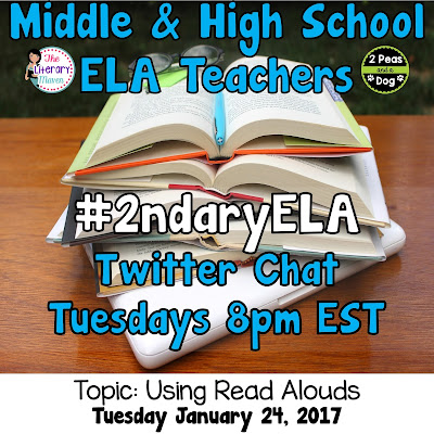 Join secondary English Language Arts teachers Tuesday evenings at 8 pm EST on Twitter. This week's chat will be about using read alouds.