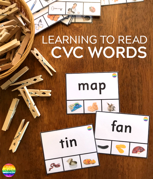 Learning to Read CVC Words - use these ready to print resources to help young children learning to read | you clever monkey
