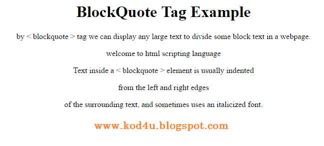 Html Blockquote Tag Example