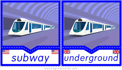 Subway and underground printable transportation flashcards in American and British English