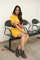 Actress Poojitha Stills in Yellow Short Dress at Darshakudu Movie Teaser Launch .COM 0287.JPG