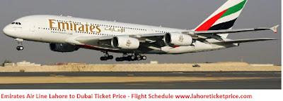 Emirates Air Line Lahore to Dubai Ticket Price 2016 - Flight Schedule