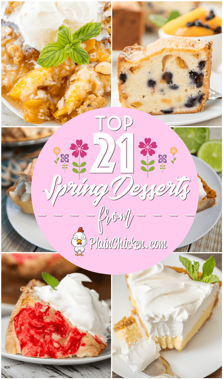 Top 21 Spring Desserts - 21 great desserts for all your spring parties! Pound cakes, cobblers, pies, sheet cakes - something for everyone! #dessert #dessertrecipes
