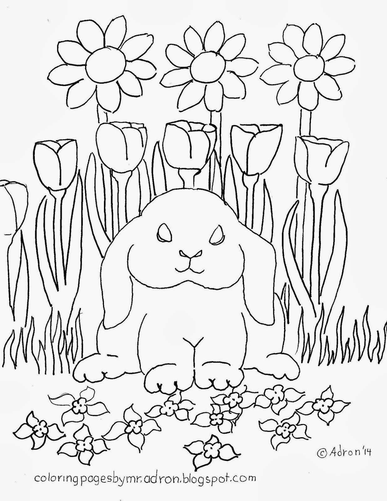An illustration of a lop eared rabbit to print and color.