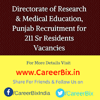 Directorate of Research & Medical Education, Punjab Recruitment for 211 Sr Residents Vacancies