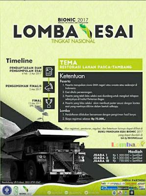 Lomba Esai Tingkat Nasional BIONIC 2017 by IPB Untuk SMA Sederajat