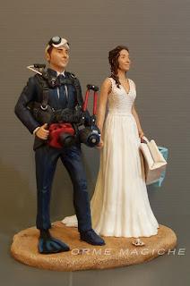 cake topper matrimonio torta nuziale subacquei tema mare fotografo sub bombole orme magiche