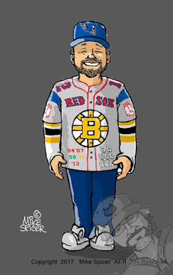 Boston Bruins, Boston Red Sox, New England Patriots, Boston Celtics caricatures football fan cartoon