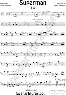 Violonchelo y Fagot Partitura de Superman Sheet Music for Cello and Bassoon Music Scores
