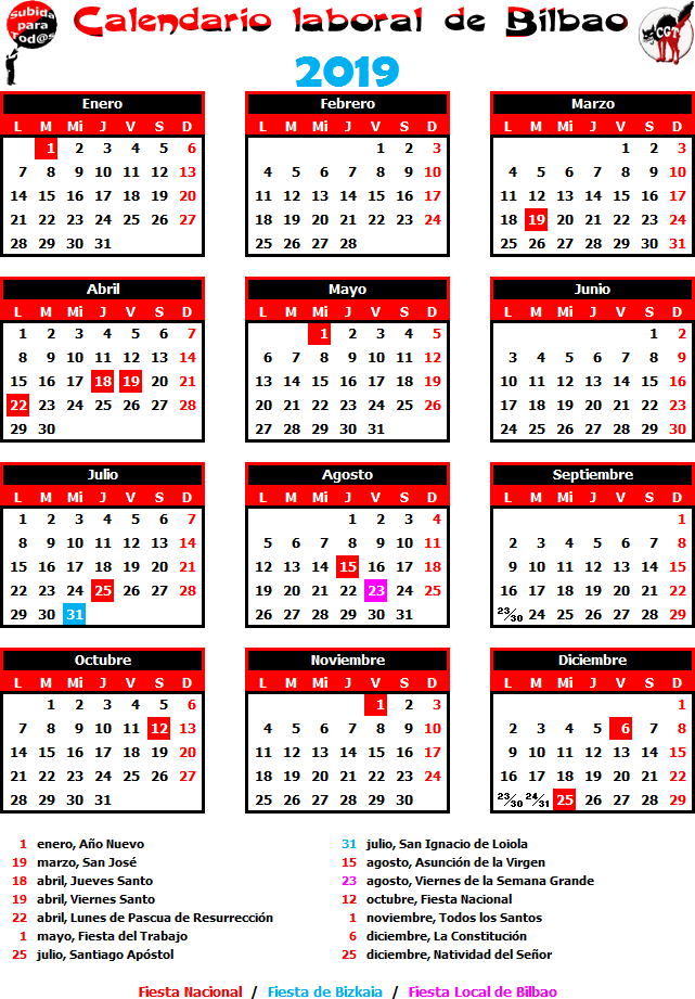 Calendario Laboral Bilbao.Gatos Sindicales Bilbao Calendario Laboral 2019
