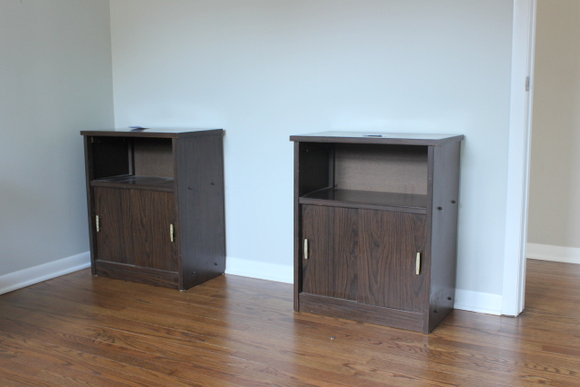 It started with two Goodwill cabinets and ended in the office desk and gallery wall reveal!