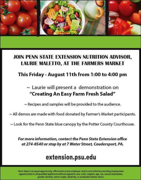 Penn State Cooperative Extension Nutrition Educator Laurie Maletto will be under the blue Penn State canopy offering s&les of a farm fresh salad with ...  sc 1 st  Solomonu0027s Words & Solomonu0027s words for the wise: Farmers Market Has Penn State ...