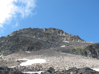 Blick von der Bochetta di Larecc in die Nordwand der Corona di Redòrta