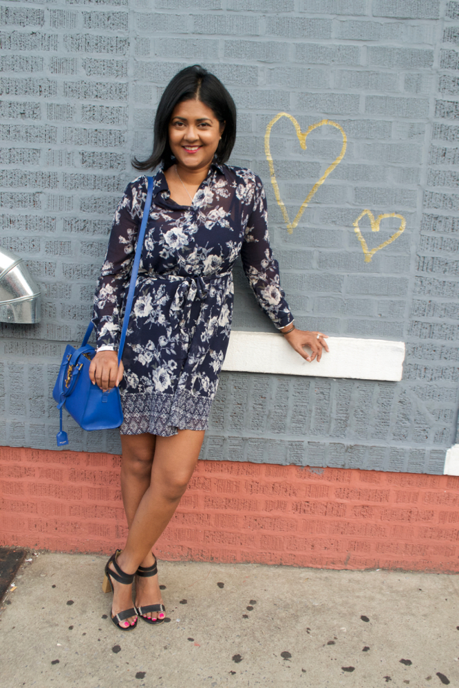blue floral dress and blue YSL purse