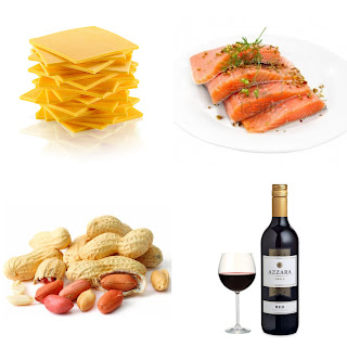 cheese, red wine, salmon and peanuts
