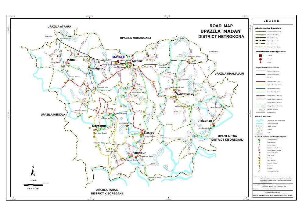 Madan Upazila Road Map Netrokona District Bangladesh