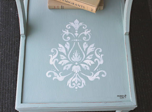 Mid Century Modern End Table Upcycle with Paint & Stencils