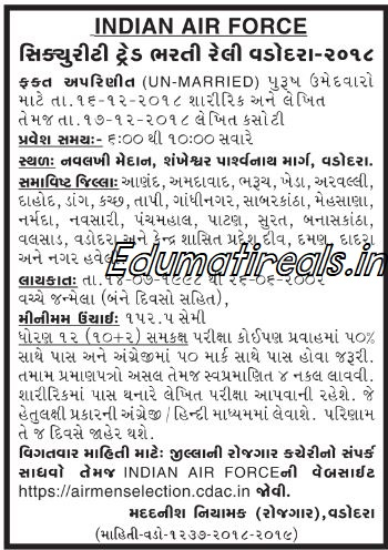 Indian Air Force Vadodara Recruitment 2018