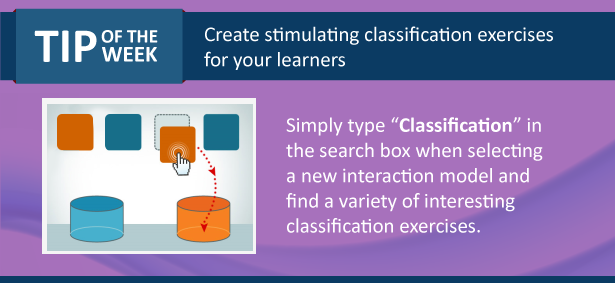 Image providing a quick tip on how to find classification exercises or interaction models in Raptivity