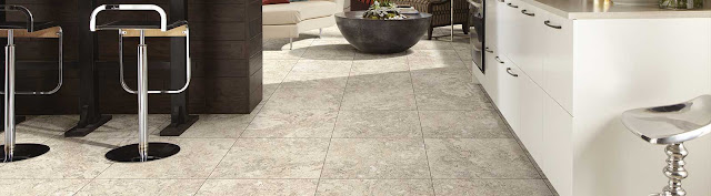 Resilient flooring brings the look of beautiful tile but the practicality of vinyl
