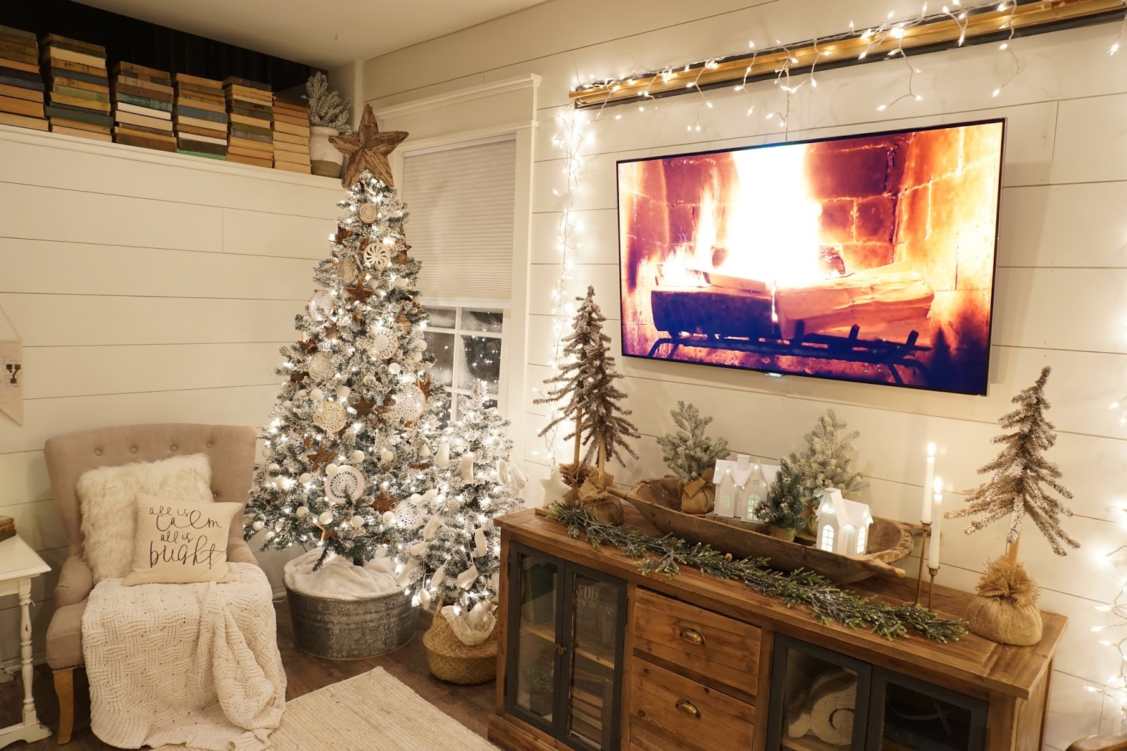 Perfecting The Homefront Cozy Christmas Living Room Night